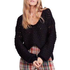 Free People Crashing Waves Knit Pullover Black M